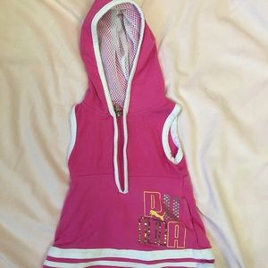 Puma 12mo pink & white athletic hooded dress